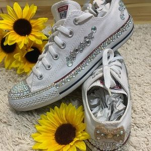 Custom Converse white with added bling